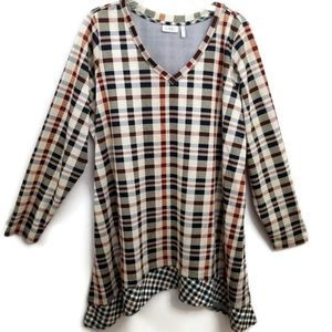 LOGO by Lori Goldstein Mixed Plaid V-Neck Tunic